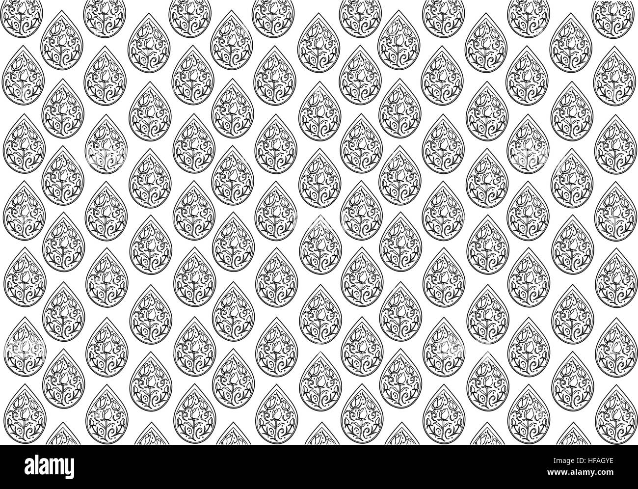 Black And White Of Thai Vintage Wallpaper Background With Foral