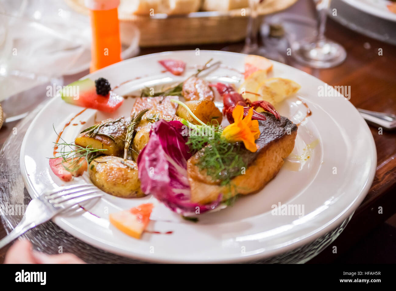 lachs meal - Stock Image