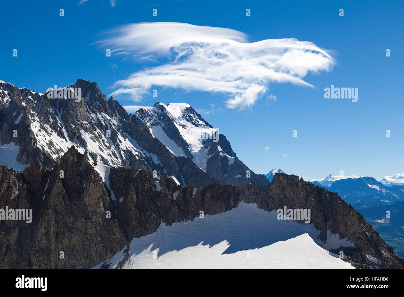 Panoramic view of Western alps with Giant's Tooth (Dent du Geant) from Helbronner roof of Europe in Aosta Valley Stock Photo