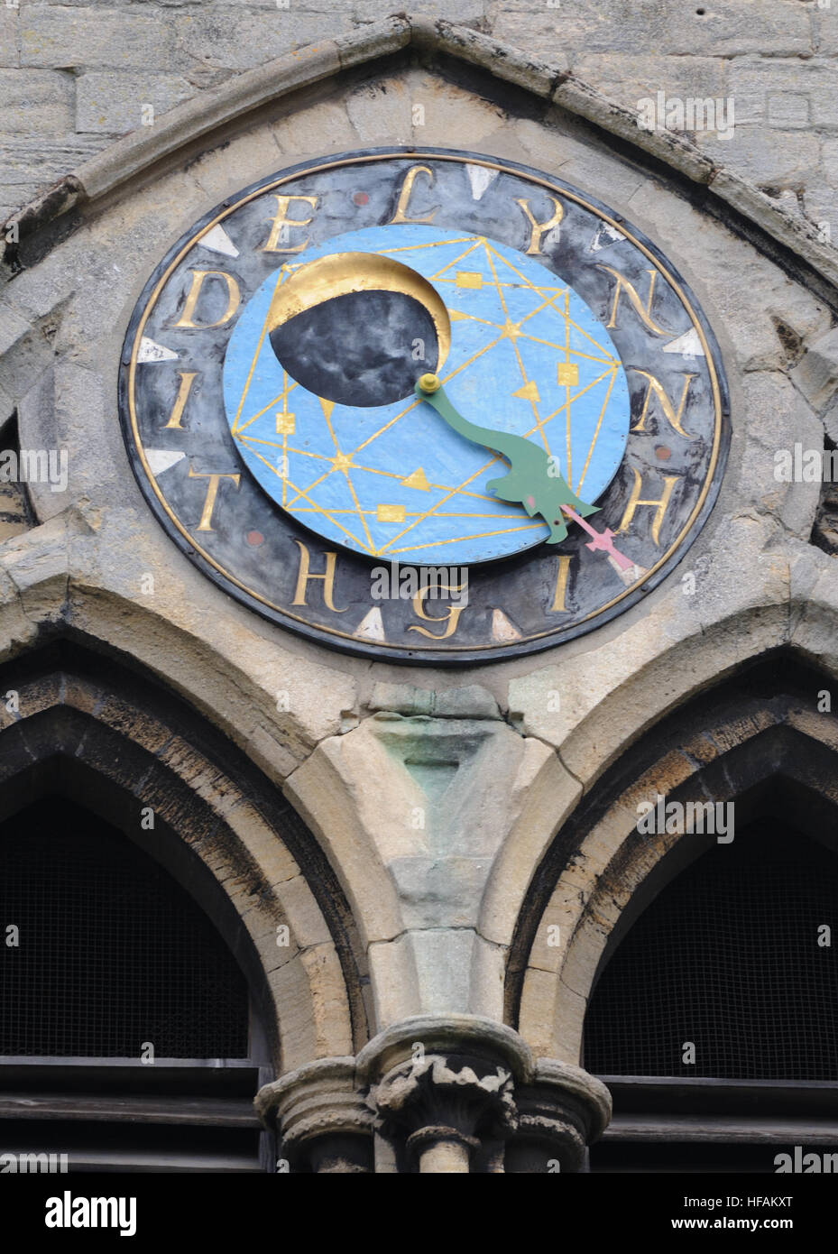 Moon dial on the south-west tower of St Margarets Church, King's Lynn. The dial shows the phase of the moon - Stock Image