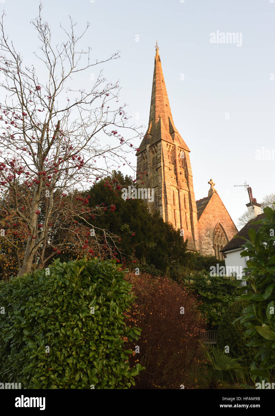 The slender stone spire of St Mark's Church,  Broadwater Down, Tunbridge Wells, Kent, UK - Stock Image