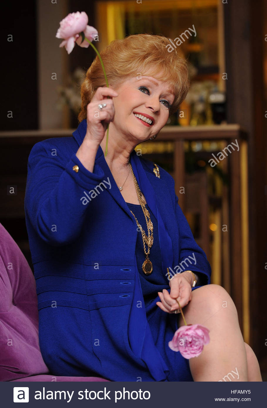 File photo dated 01/04/2010 of Debbie Reynolds in London celebrating her 78th birthday as she has been rushed to - Stock Image