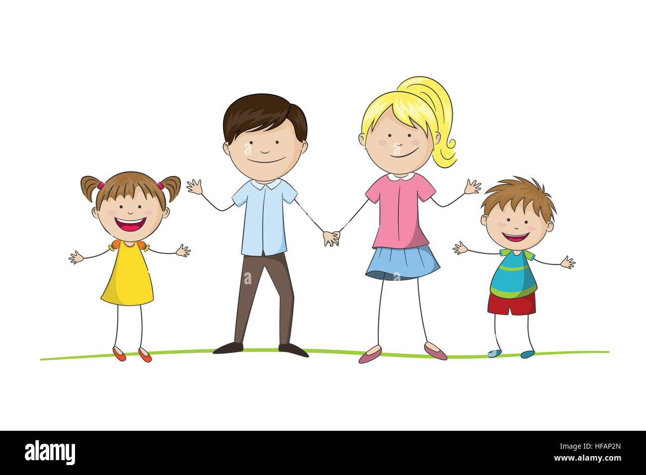 Young family with two children - Stock Vector