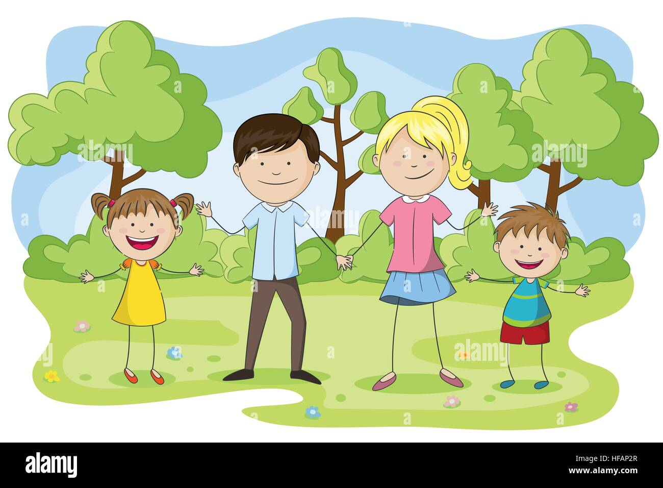 Young family with children in the park - Stock Vector