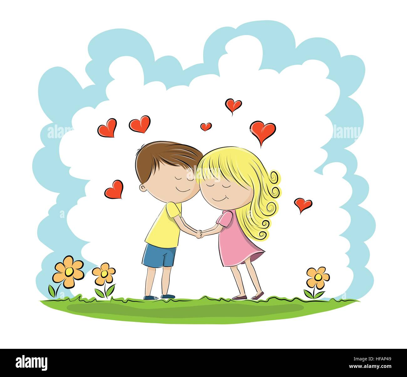 two people in love hand draw sketch stock vector art illustration