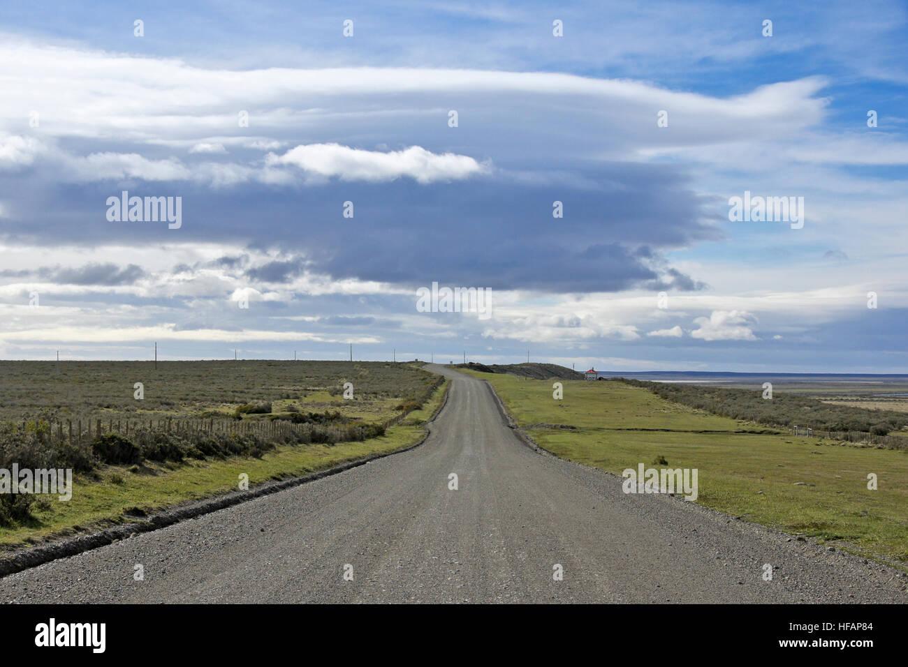 Ruta Aonikenk north of Punta Arenas, Patagonia, Chile - Stock Image