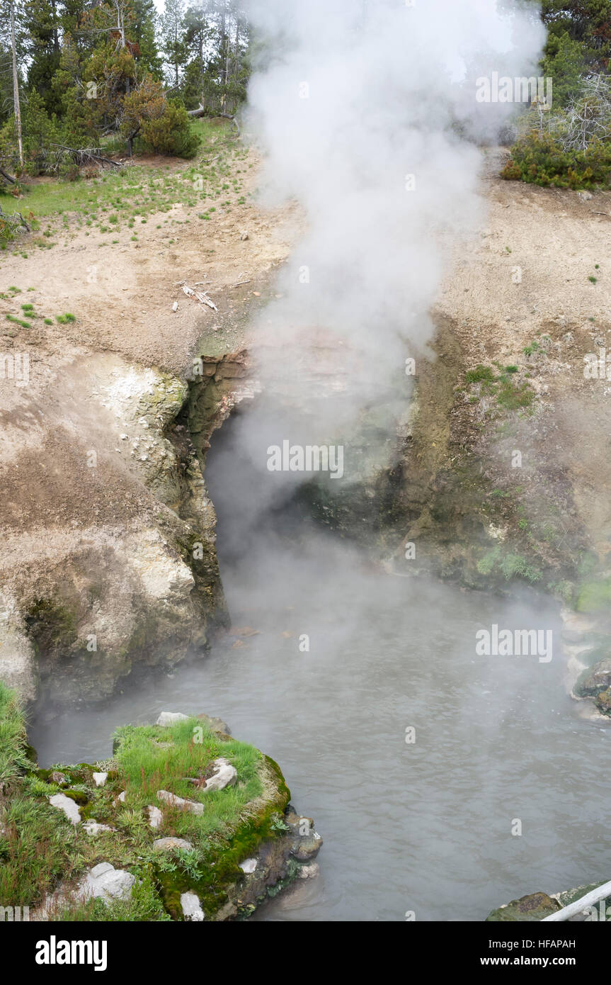 Park County, Wyoming: Steam rising from the Dragon's Mouth along the Mud Volcano Trail in Mud Volcano Area at - Stock Image