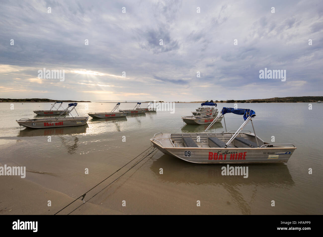 Brooker 395 Trekker boats for hire on the shores of the Murchison River - Stock Image