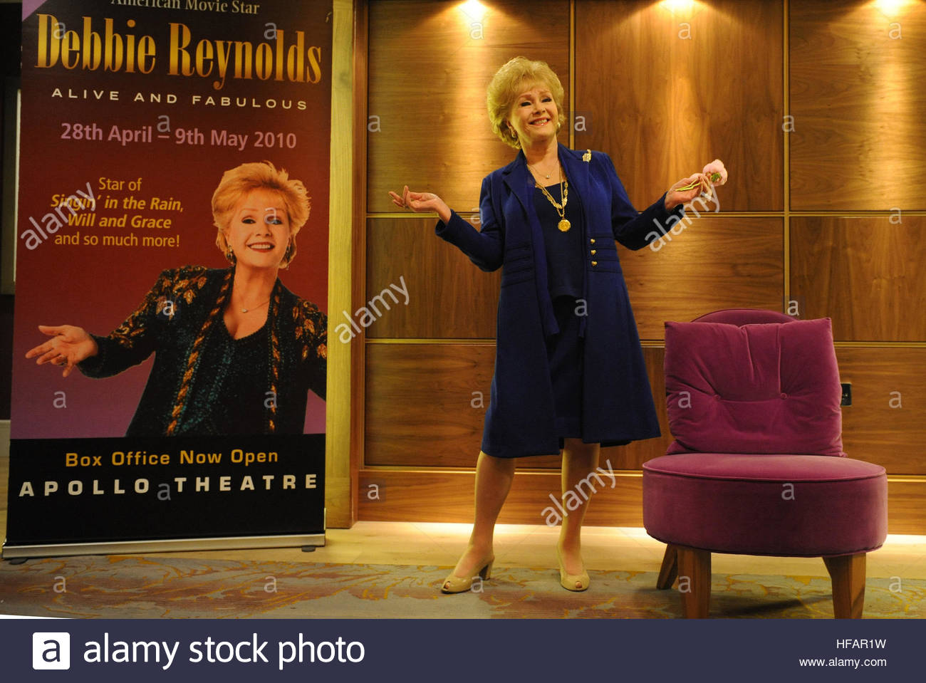 File photo dated 1/4/2010 of Hollywood actress Debbie Reynolds, who has died barely a day after the death of her - Stock Image