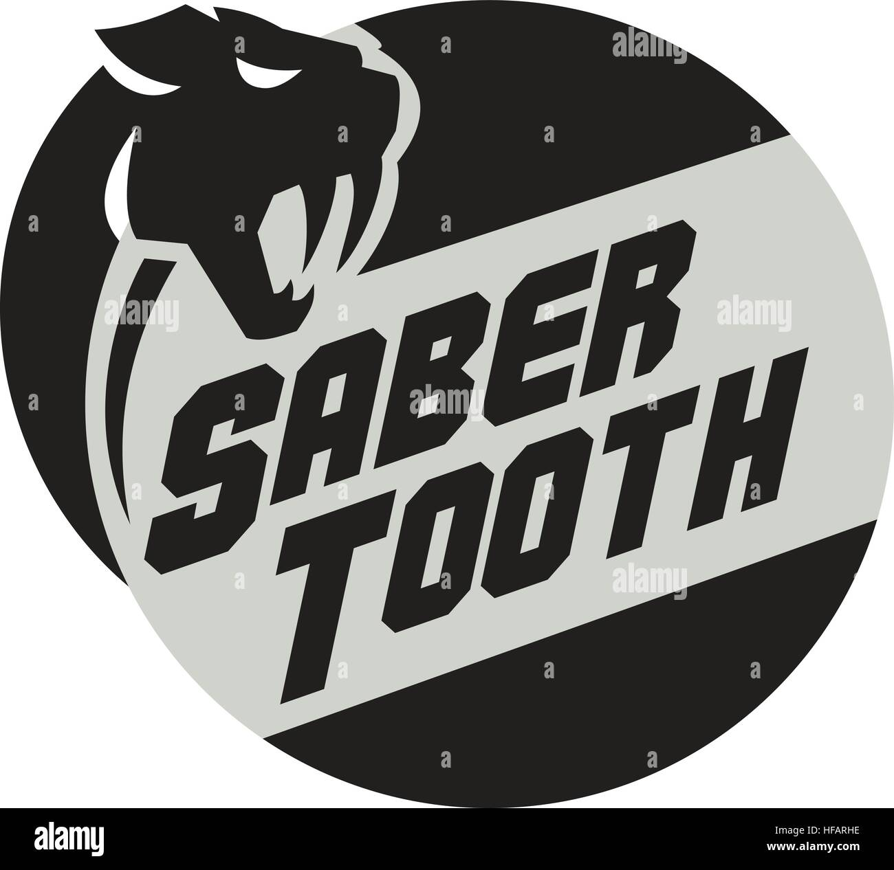 Illustration of a saber tooth tiger or sabre-tooth cat with long, curved saber-shaped canine teeth of which the Stock Vector