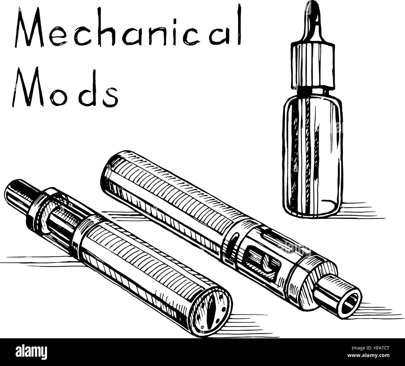 Vector sketch of the electronic cigarette. - Stock Image