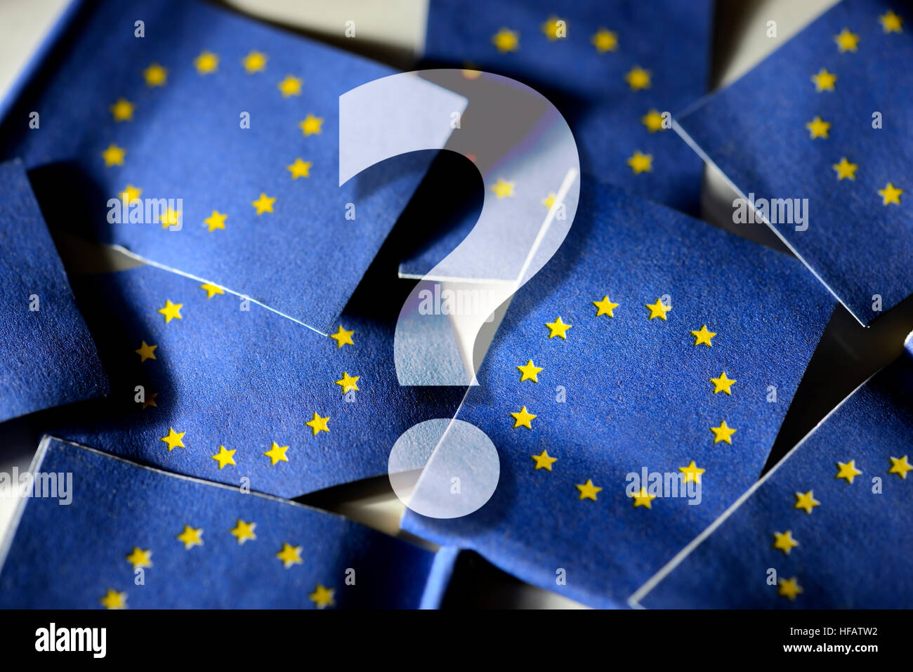 Question mark in front of flags of the European Union - Stock Image