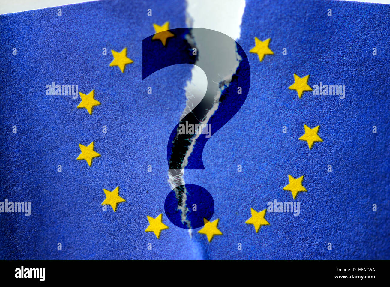 Question mark in front of torn flag of the European Union - Stock Image