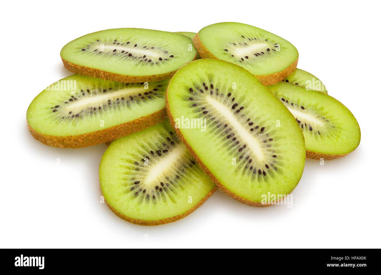 sliced kiwi isolated - Stock Image