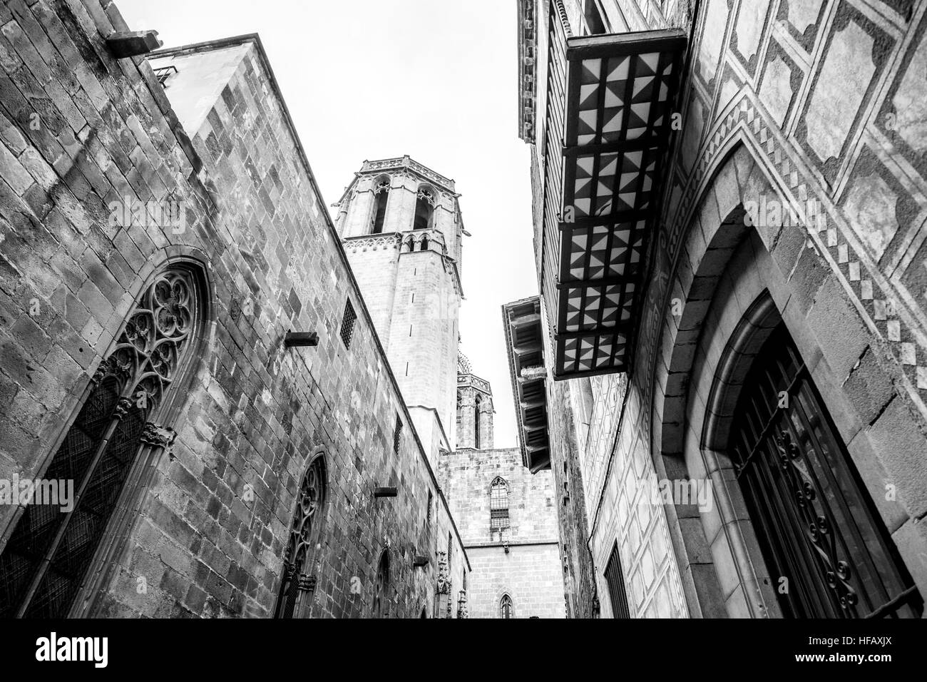 Barcelona Cathedral seen from the street view below in the Gothic District - Stock Image