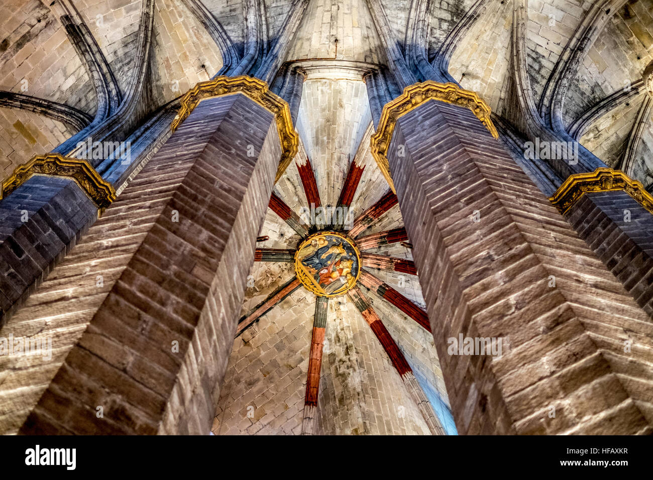 Cathedral Barcelona interior stained glass arch arched ceiling stone massive huge christ christian catholic protestant - Stock Image