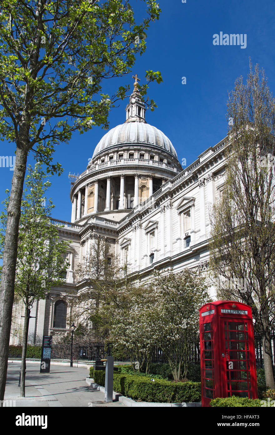 Springtime St Pauls Cathedral in London - Stock Image