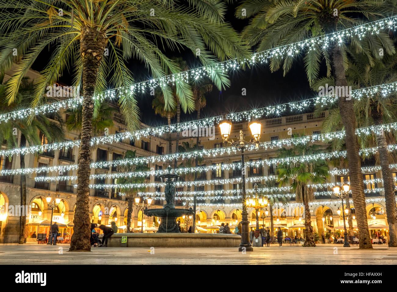 Placa Reial Barcelona city street light night christmas fairy lights - Stock Image