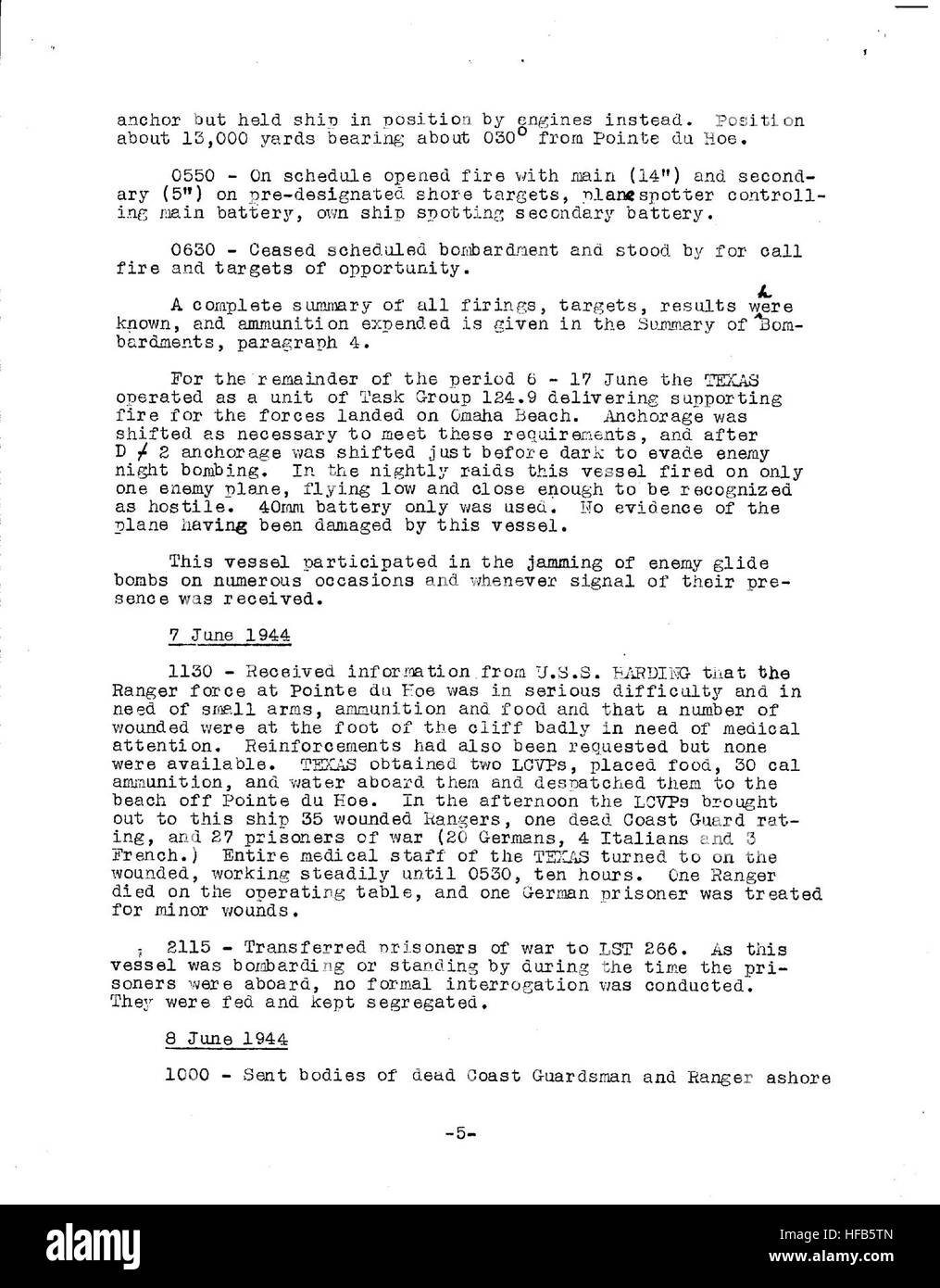 D-Day After Action Report Page 5 Stock Photo