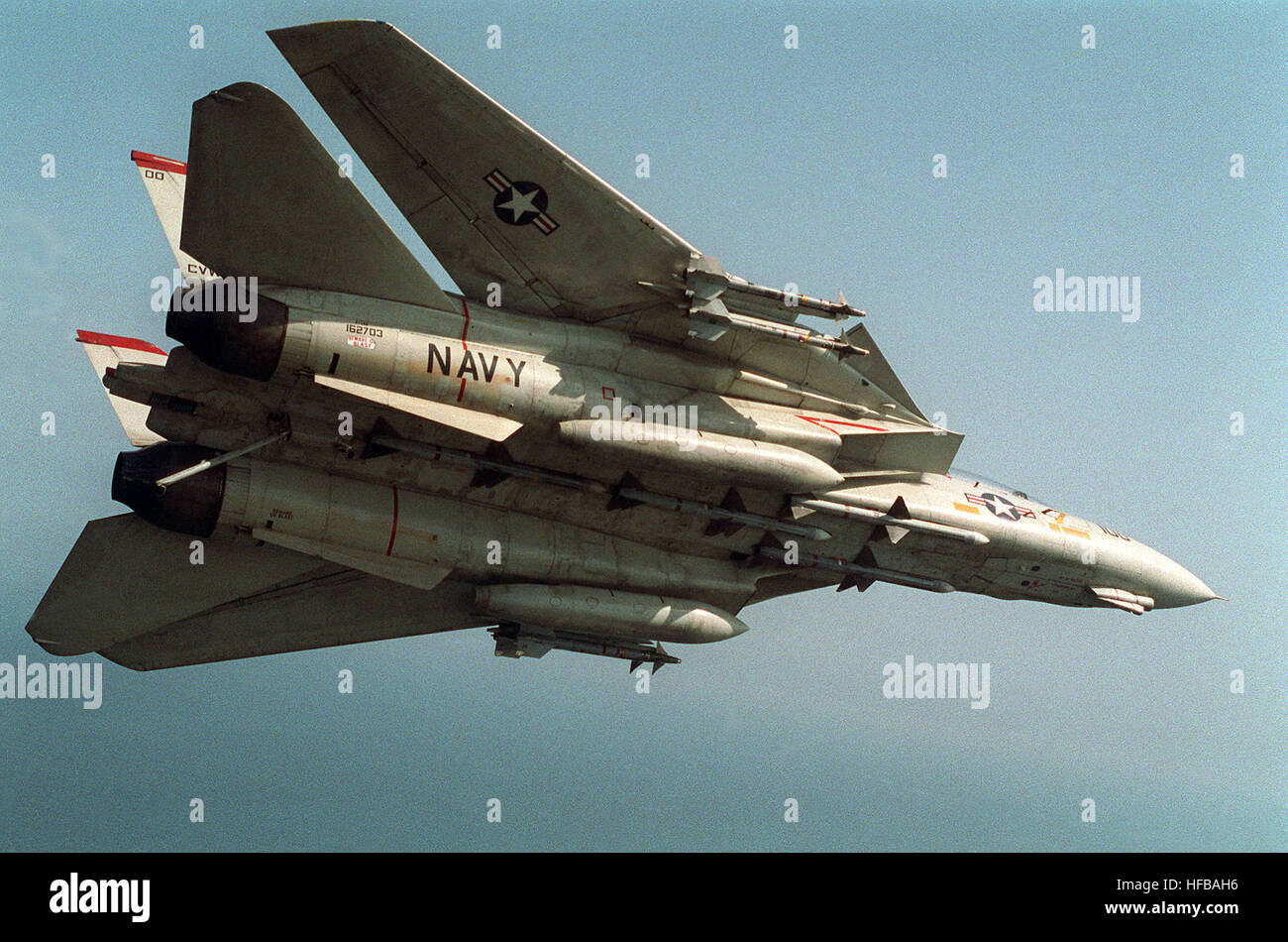 An underside view of a Fighter Squadron 41 (VF-41) F-14A Tomcat aircraft on a Combat Air Patrol (CAP) during Operation - Stock Image