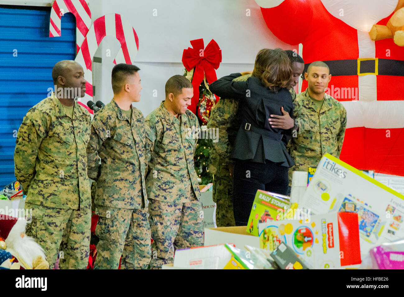 first lady michelle obama hugs each marine who recently returned