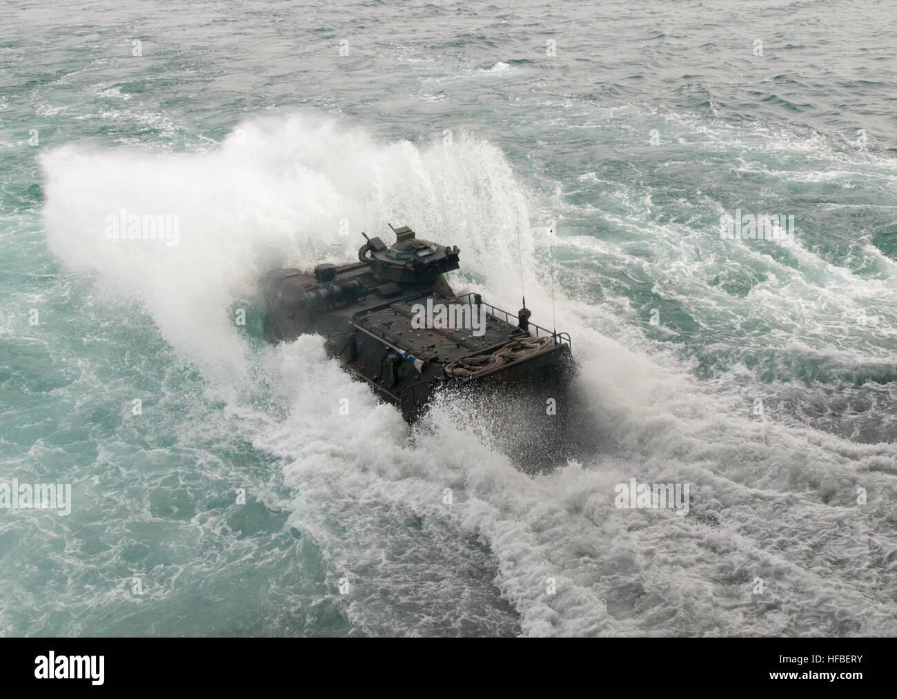 120207-N-NL541-478 ATLANTIC OCEAN (Feb. 7, 2012) An amphibious assault vehicle assigned to 2nd Amphibious Assault - Stock Image