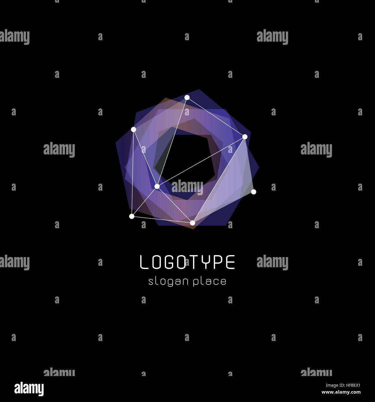 Unusual abstract geometric shapes vector logo. Circular, polygonal colorful logotypes on the black background. - Stock Image