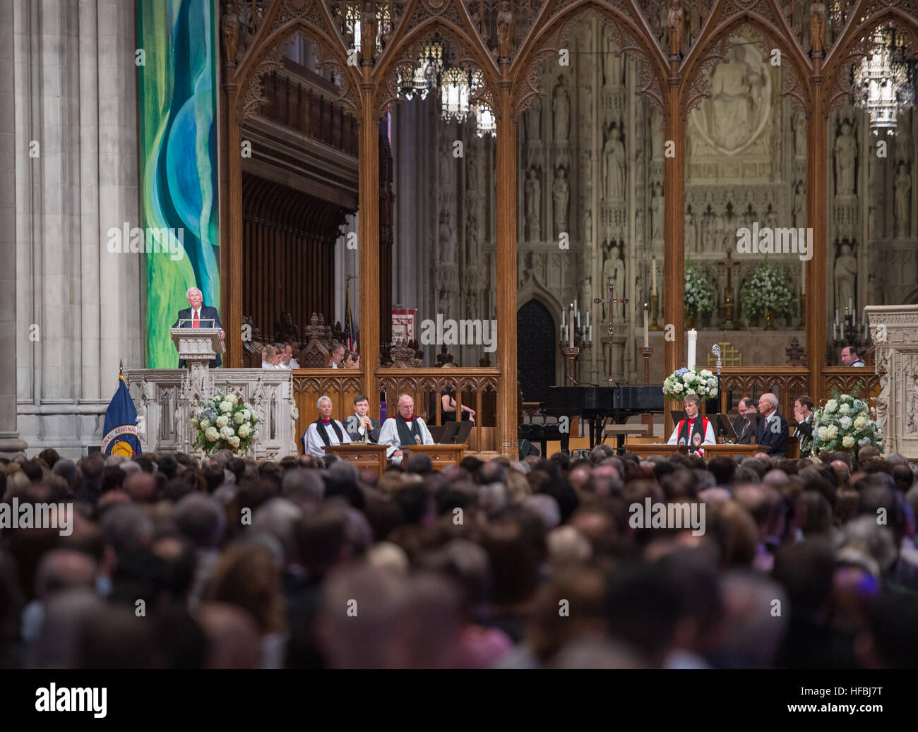 WASHINGTON (Sept. 13, 2012) Apollo 17 mission commander Gene Cernan, the last man to walk on the moon, speaks during - Stock Image