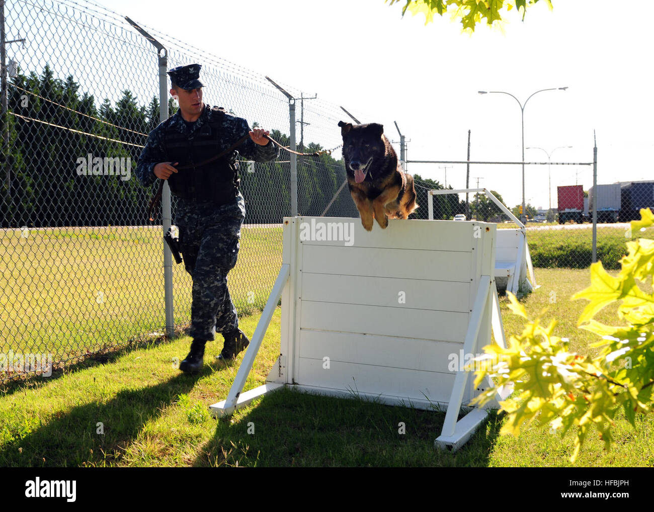 120626-N-YC505-074  NORFOLK, Va. (June 26, 2012) Master-at-Arms 2nd Class Shane McClennen, a dog handler assigned - Stock Image