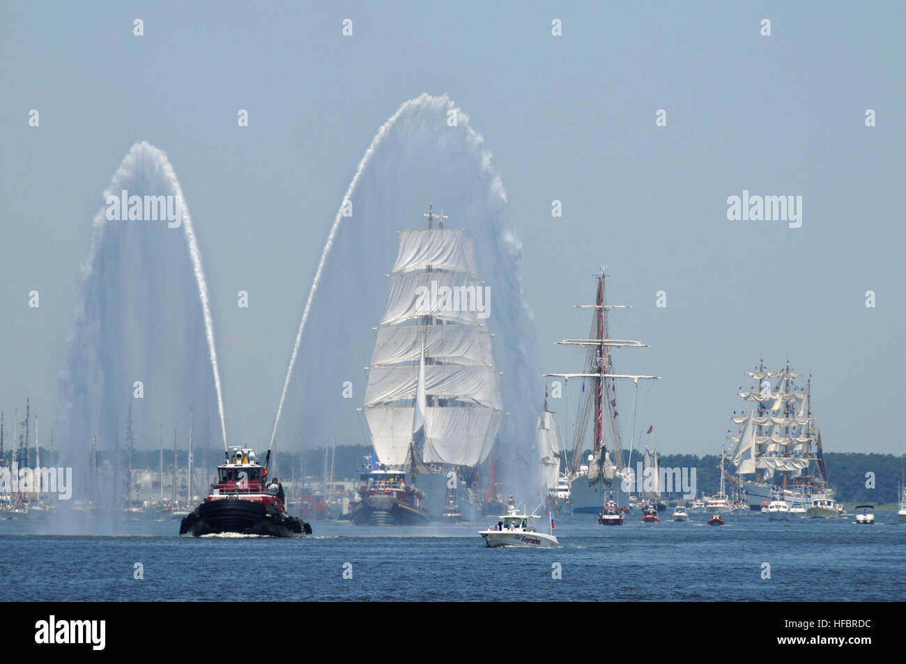 120608-N-WX580-013 NORFOLK (June 8, 2012) Tall ships make their way down the Elizabeth River during Operation Sail - Stock Image