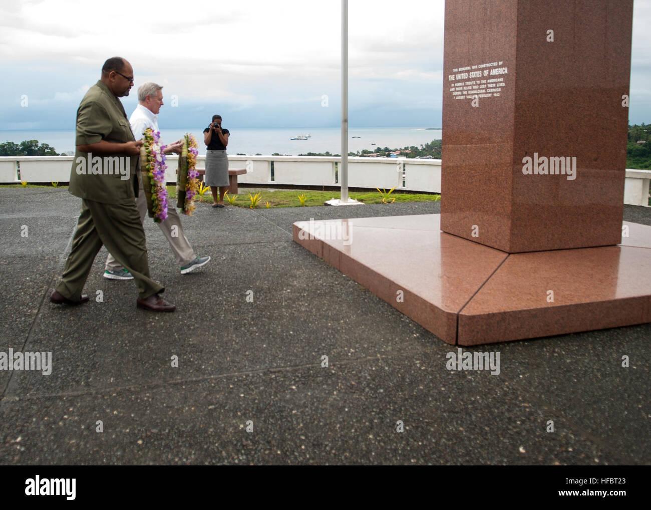 120330-N-AC887-002 HONIARA, Solomon Islands (March 30, 2012) Secretary of the Navy (SECNAV) Ray Mabus and U.S. Ambassador - Stock Image