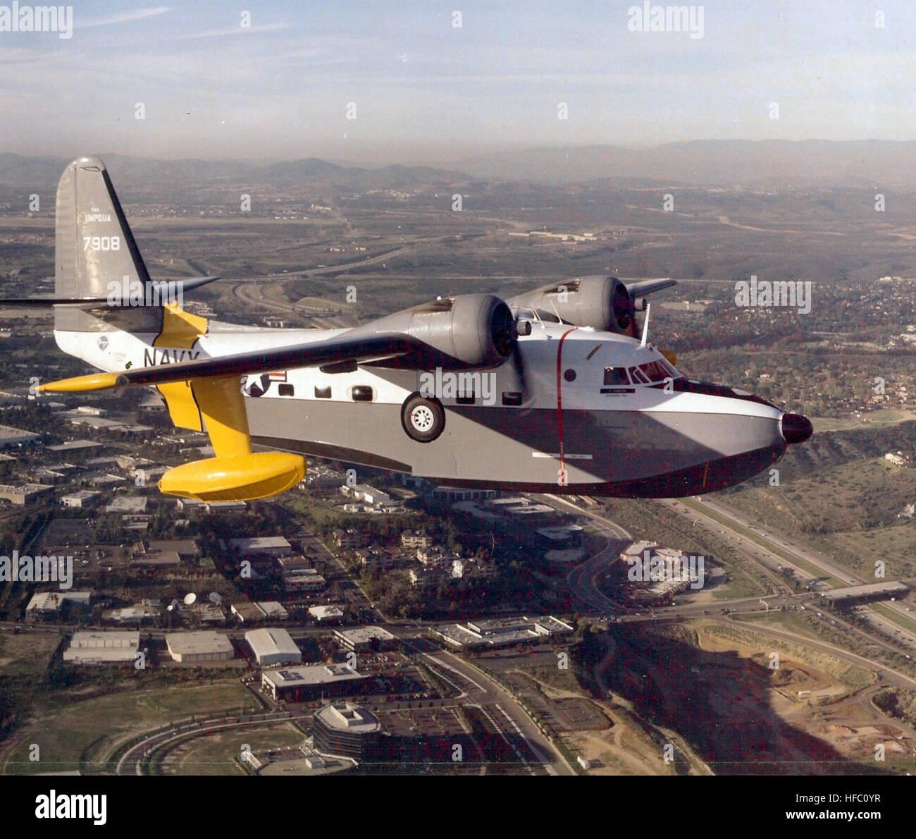 Grumman HU-16C Albatross Umpqua in flight Stock Photo