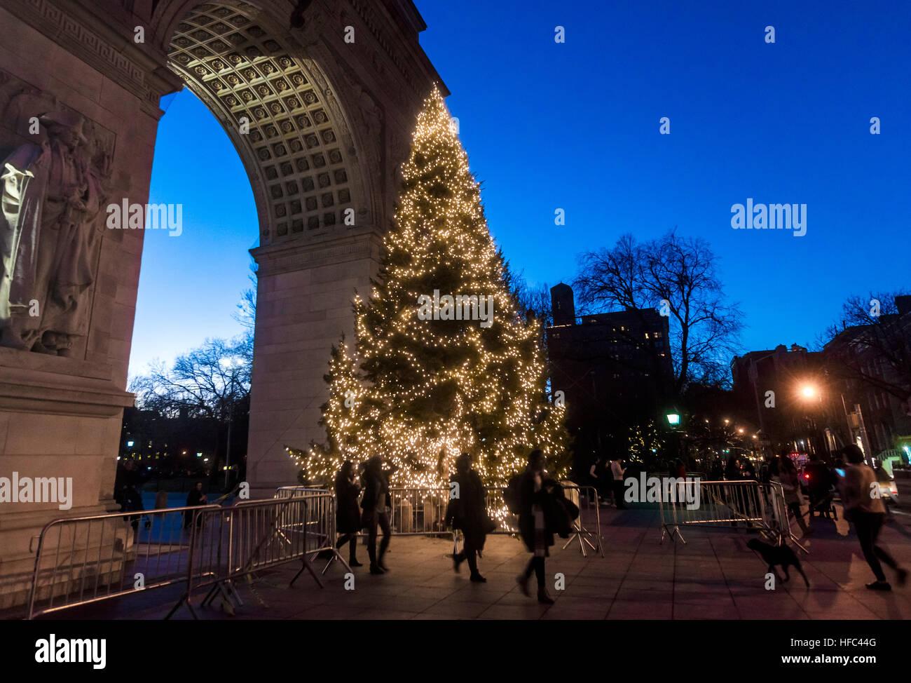 New York, NY 27 December 2016 - Christmas tree in Washington Square Park ©Stacy Walsh Rosenstock - Stock Image