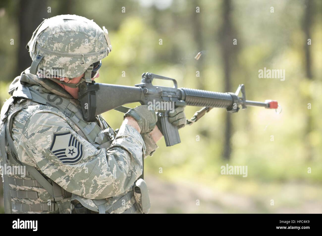 U S  Air National Guardsman Master Sgt  Smith shoots blank