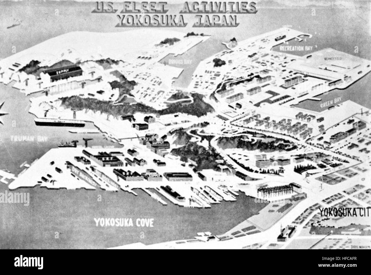 Map Of Us Navy Fleet Activites Yokosuka Japan In 1957 Stock Photo