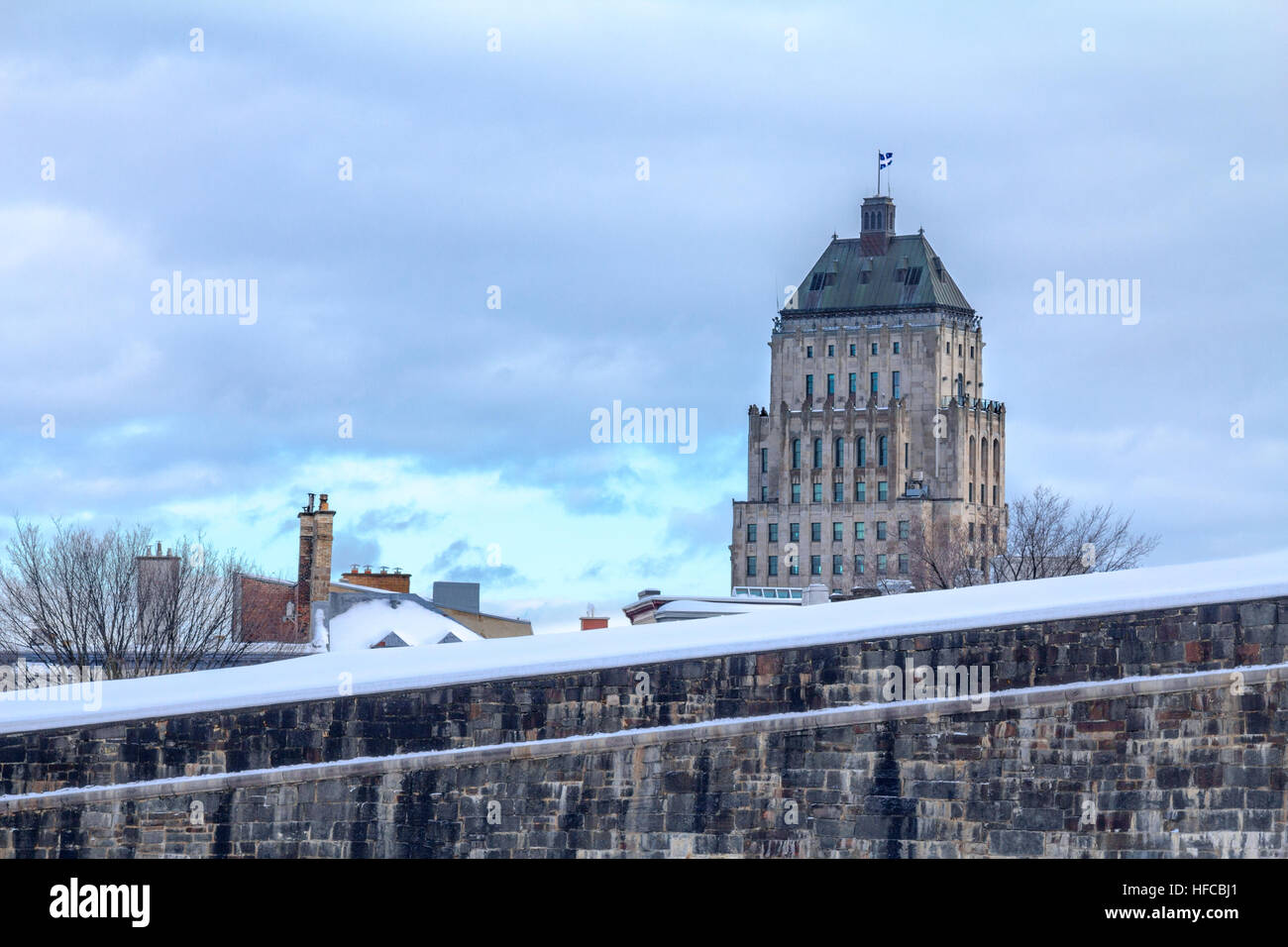 View of the Price Building (Edifice Price) from the Quebec City Ramparts - Stock Image