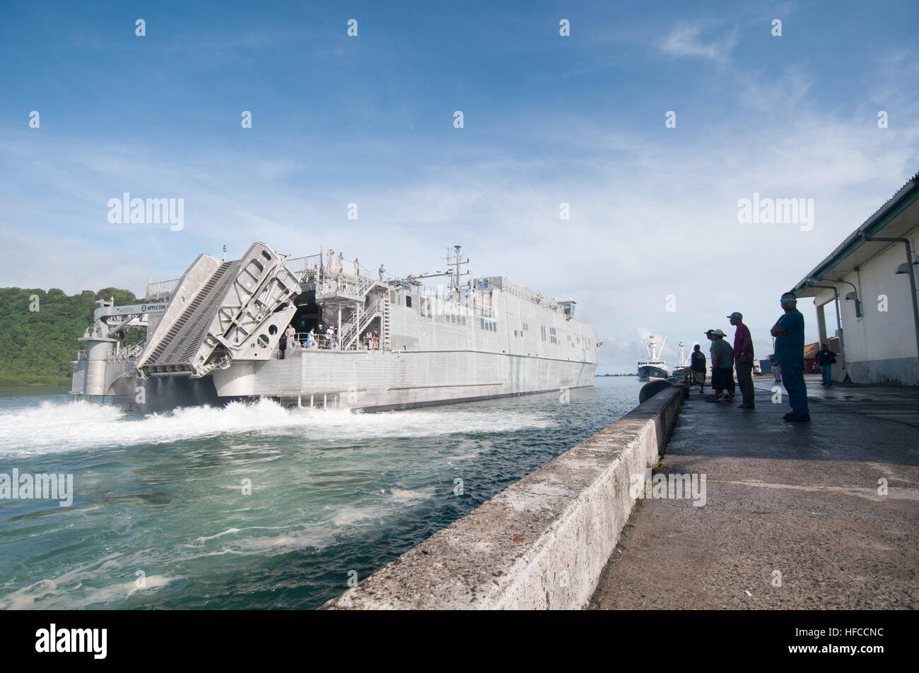 150621-N-TW039-034  Kolonia, POHNPEI  (June 21, 2015) - The Military Sealift Command joint high speed vessel USNS - Stock Image