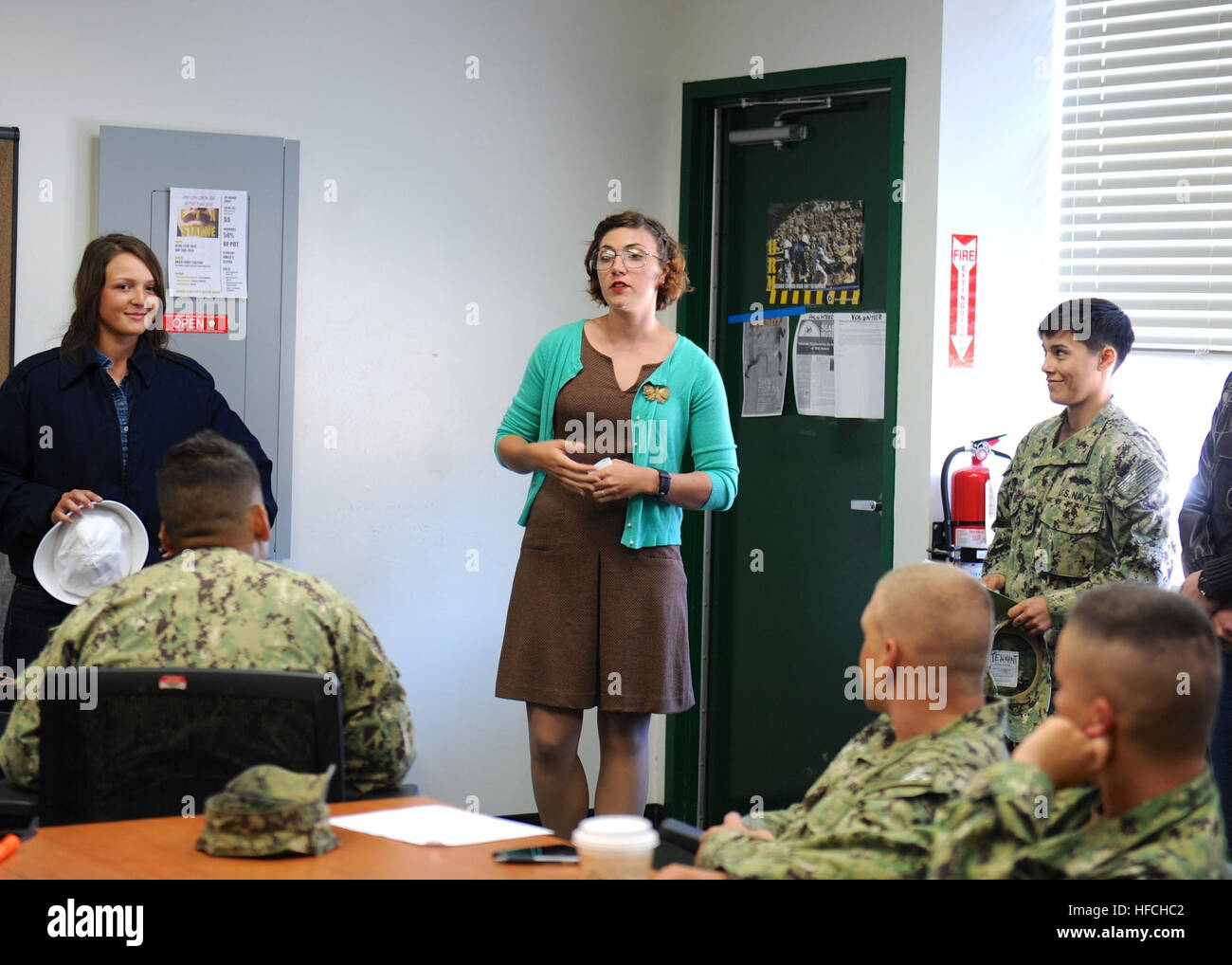 150325-N-KR961-001 PORT HUENEME, Calif. (March 25, 2015) – Ens. Alexis Anderson, assigned to Naval Mobile Construction - Stock Image