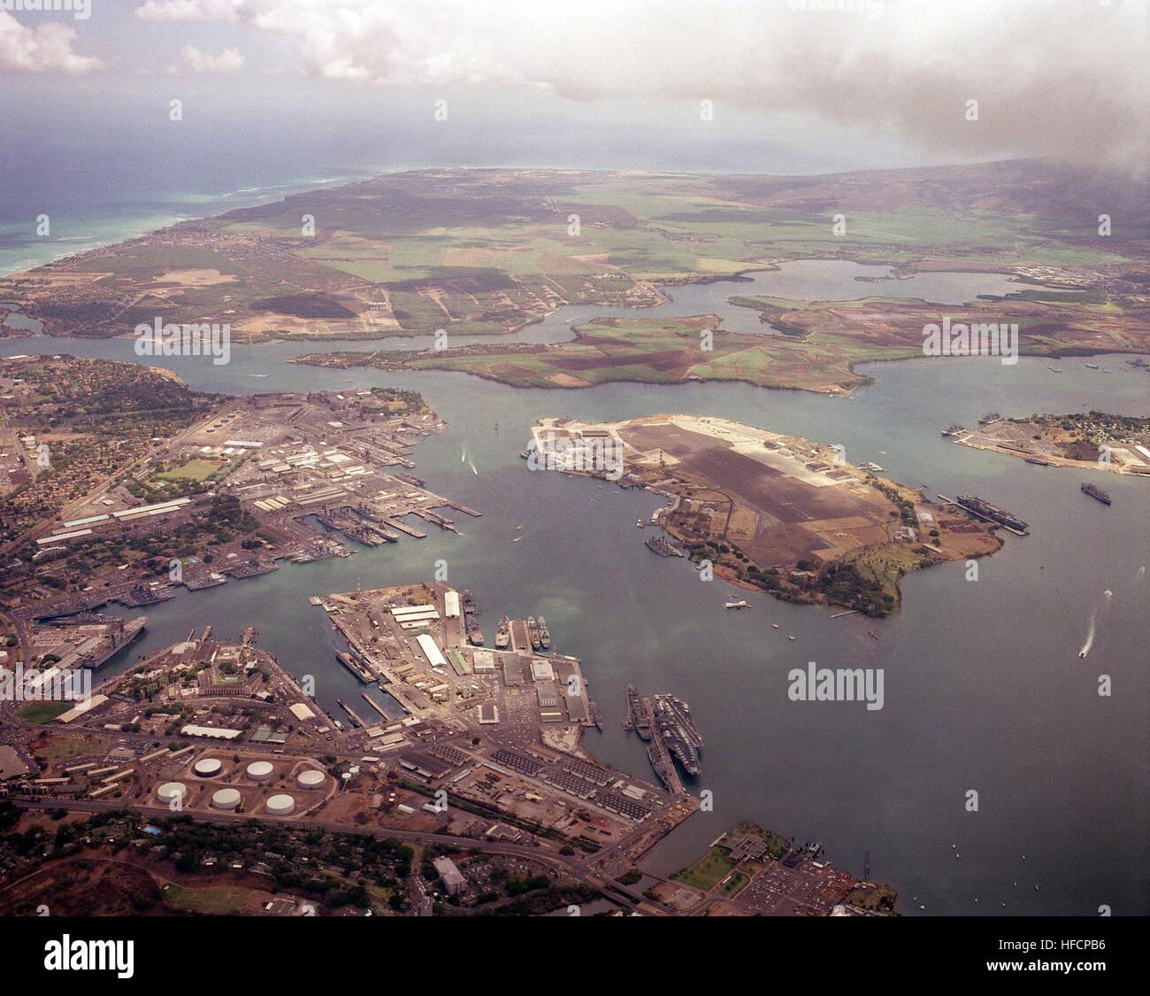 A Low Oblique Aerial View Of Pearl Harbor Hawaii Showing The Gathering Ships