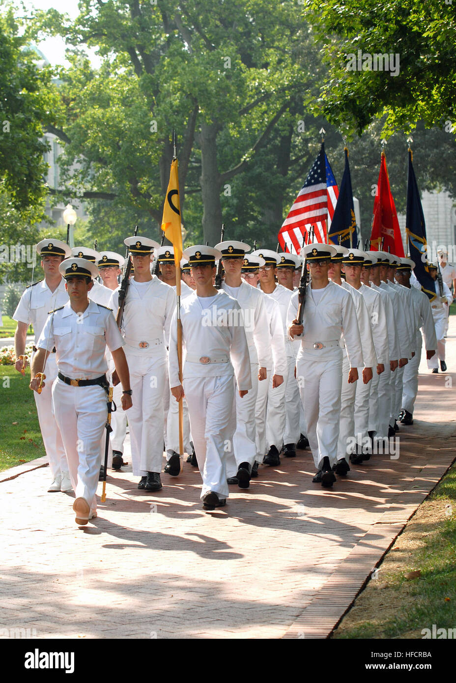 U S  Naval Academy midshipmen participate in a formal parade