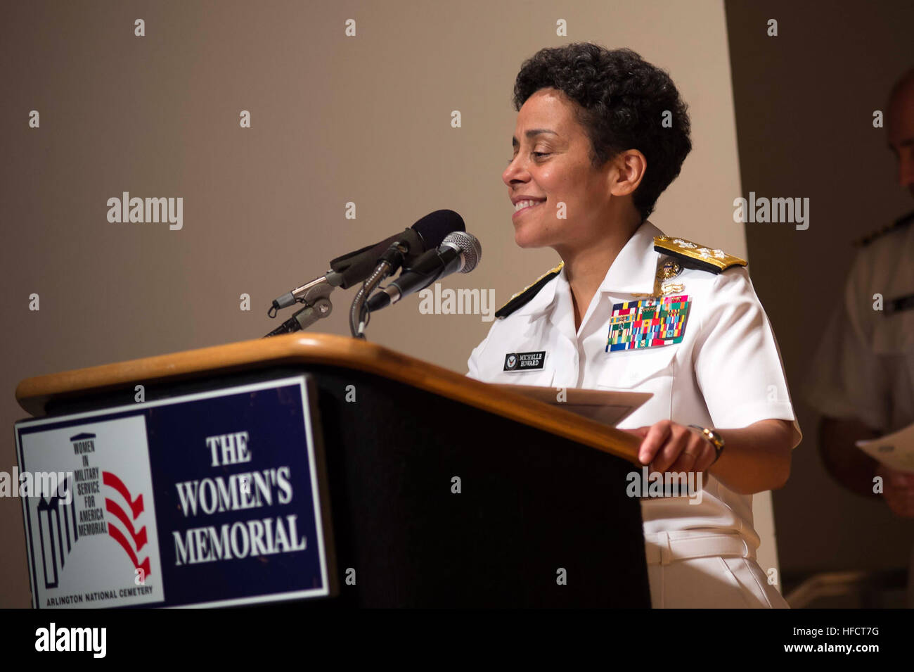 Adm. Michelle Howard thanks her family, friends, and shipmates following her historic promotion to the rank of admiral Stock Photo