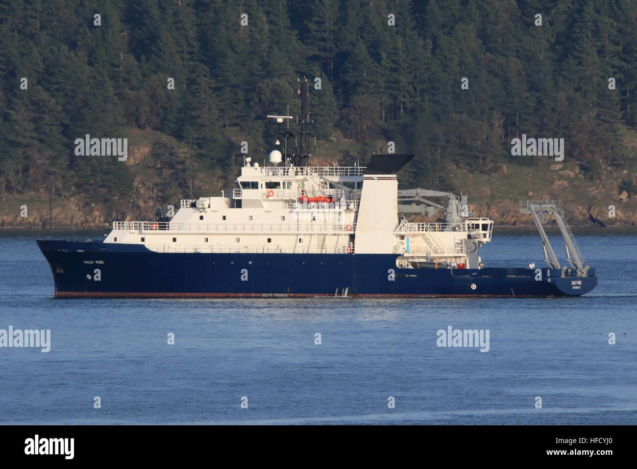 160225-N-EW716-001  PADILLA BAY, Wash. – The Research Vessel R/V Sally Ride (AGOR 28) successfully completed Acceptance - Stock Image