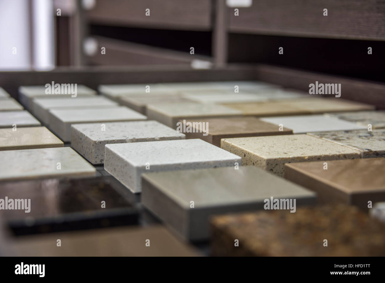 Kitchen counters color samples on store shelves. - Stock Image