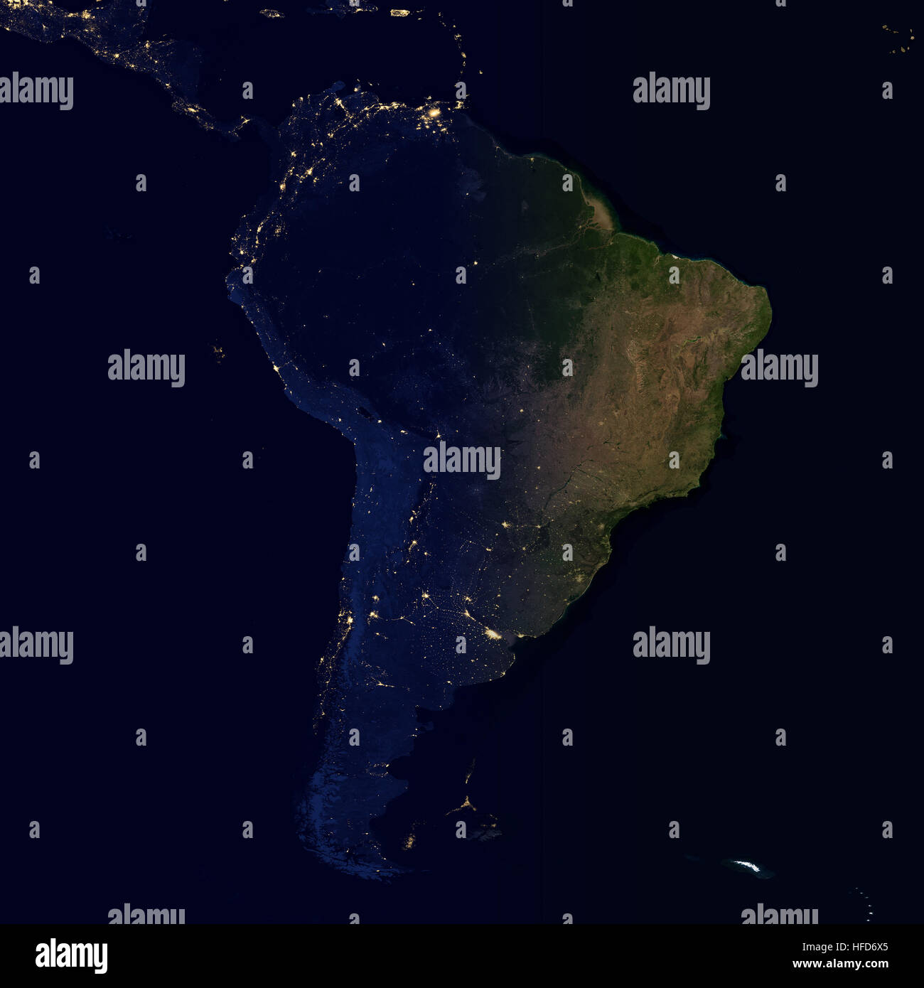 city lights on world map south america