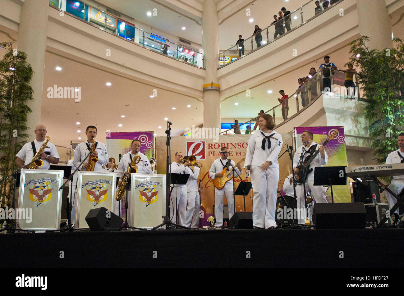 Members of the U.S. 7th Fleet Band, Far East Edition, perform for more than 3,100 people at Robinsons Place Mall Stock Photo