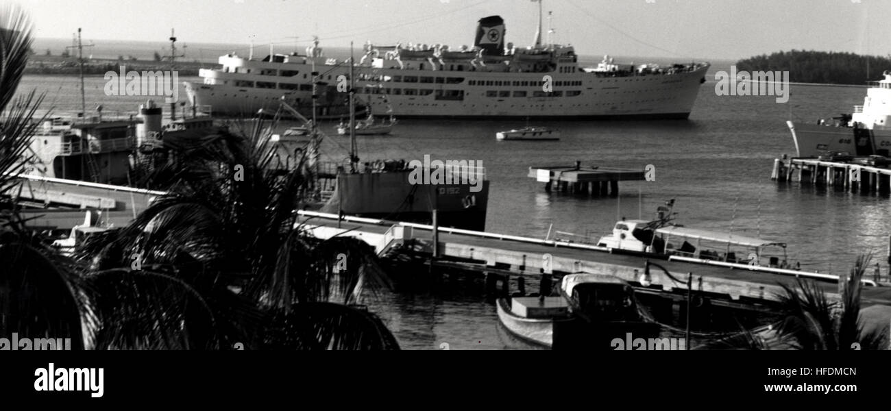 The cruise ship Ariadne in Key West Harbor in 1971. U.S. Navy photo. Ariadne in Key West (8749747233) Stock Photo