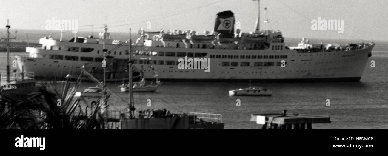 The cruise ship Ariadne in Key West Harbor in 1971. U.S. Navy photo. Ariadne in Key West (8749747233) (cropped) Stock Photo