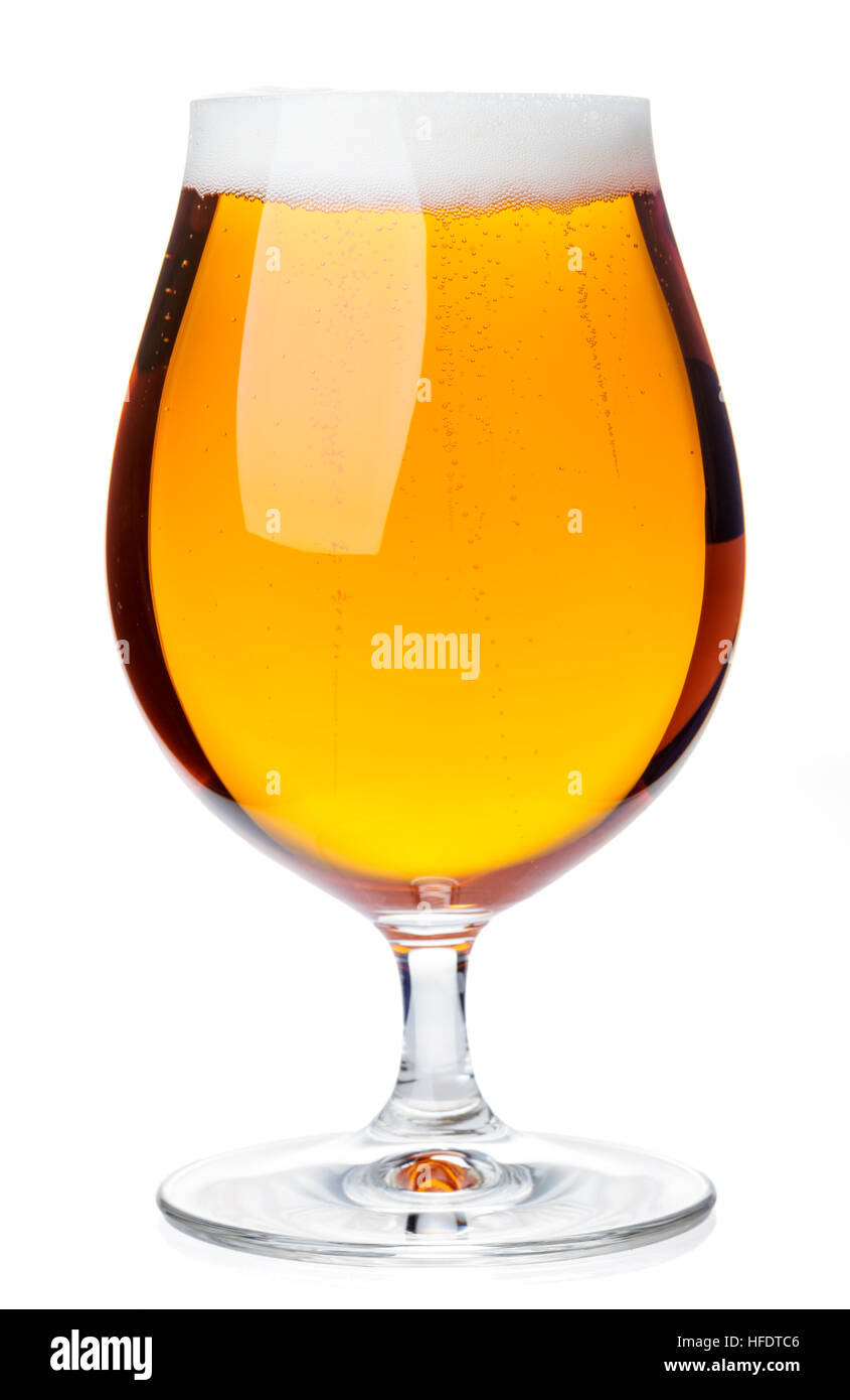 Full beer snifter glass of pale lager of pils isolated on white background - Stock Image