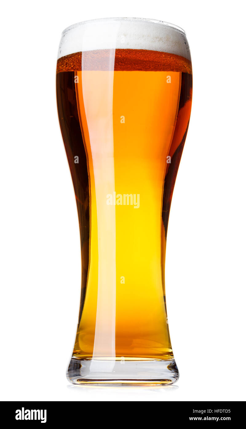 Full pilsner glass of pale lager beer with a head of foam isolated on white background - Stock Image