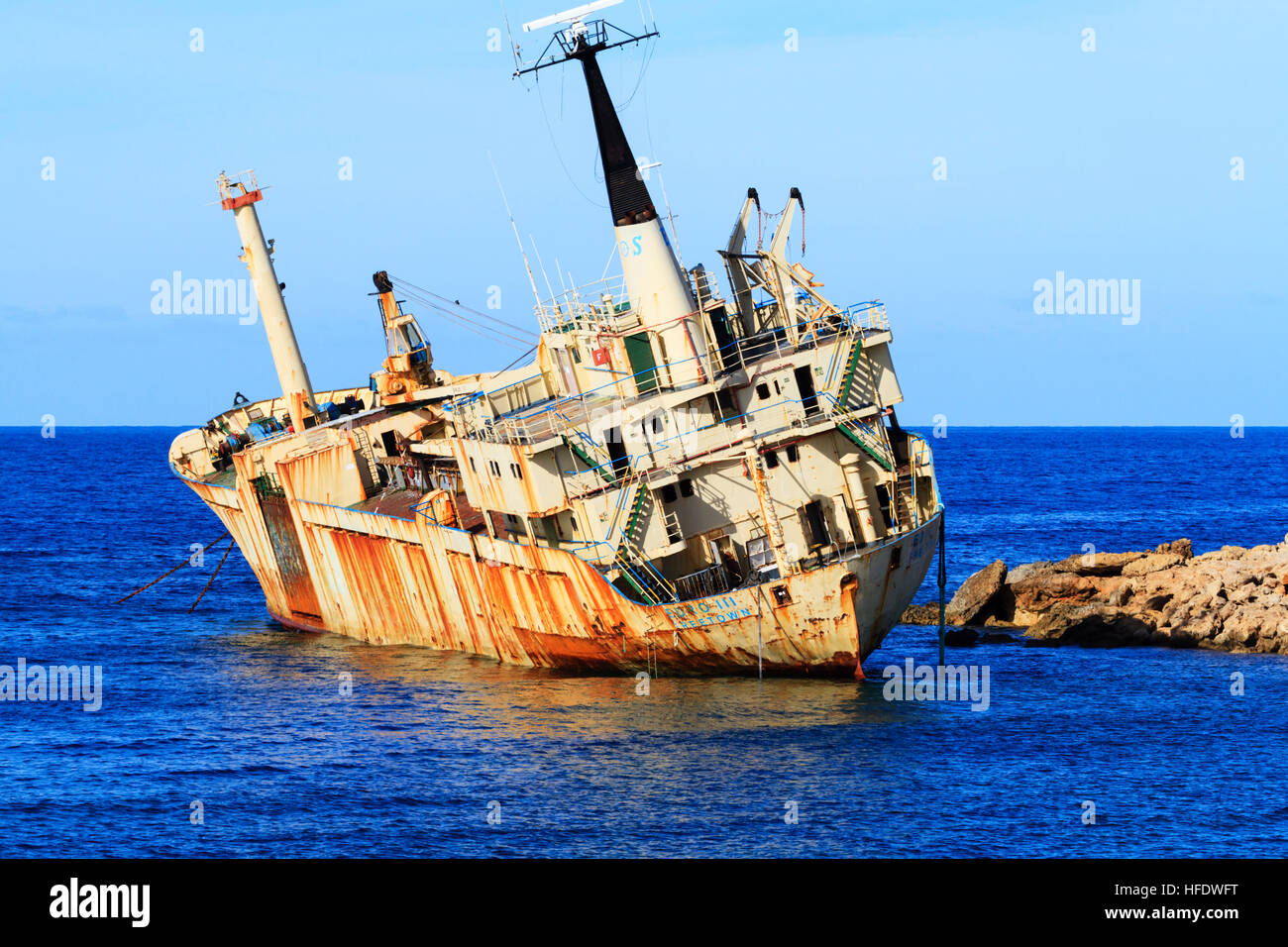 Wreck of the Edro III off Seacaves, Paphos, Cyprus. - Stock Image